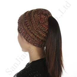 OutdOOr cOstumes online shopping - Women CC Ponytail Hat Knitted Beanies Female Crochet Wool Hats Outdoor Ski Elastic Hole Beanie Hat Brand Label Winter Warm Skull Caps C91806