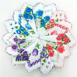 Wholesale Floral Cutters Australia - Home Textiles hot 100% Cotton Handkerchief Cutter Ladies Handkerchief Craft Vintage Hanky Floral Wedding Handkerchief 30*30cm Random Color S
