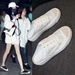 $enCountryForm.capitalKeyWord Australia - Goddess2019 Yarn Screen Baotou Star Half Slipper Woman Summer Outside Clothes Dawdler Sandals Small White Shoes