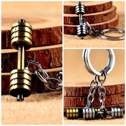 $enCountryForm.capitalKeyWord Australia - Zinc Alloy Eco Friendly Key Ring Fitness Motion Accessories Keychain Big Barbell Dumbbell Car Pendant Keys Buckle Gold 2 1mtb I1
