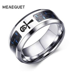 $enCountryForm.capitalKeyWord NZ - Men's Stainless Steel Ring Personalized ID Custom Tag In Silver Color Carbon Fiber Inlay Wedding Brands Argolas Engagment Gifts