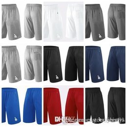 navy blue baseball jerseys UK - 2018 Men's LosAngelesDodgers Shorts White Gray Black Navy Blue Red Franchise Performance Shorts Size S-XXXL Baseball Shorts Jerseys