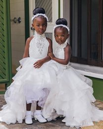 $enCountryForm.capitalKeyWord Australia - 2019 Latest Cute Beaded Flower Girl Dresses High Low Halter Crystal With Lace Ruffles Kids Girls Pageant Dresses Cupcake Custom Made