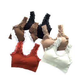 6b1001757dc Women Sexy Vest Wire Free Sports Gym Bra Wireless Lace Breathable Bra  Intimates Without Gathers Bra Hot