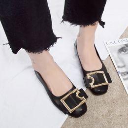 $enCountryForm.capitalKeyWord Australia - Ladle Buckle Metal Autumn Flat Hundreds Of Shallow-mouthed Honor2019 Shoes Doug Single Shoe Woman