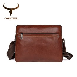 Discount office cross body bags - COWATHER Men messenger bags top cow genuine leather luxury men Handbag high quality shoulder bag casual office Handbag f