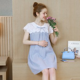 8c2f7b157eed3 Fashion 2019 Summer maternity loose cotton patchwork lace short-sleeved  dress pregnant women cute peter pan collar dress