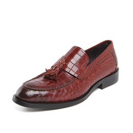 Courting Dress UK - Fashion2019 Grain Crocodile 92-2 Embossing Skin Correct Dress Genuine Cowhide Shoe Male Man Leather Shoes