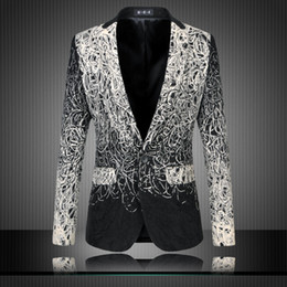Wholesale black formal jackets for men resale online - New Mens Suit Jacket Smart Casual Style Coat Slim Fit Male Formal Mens Sequin Jacket For Prom Wedding Big Size XL