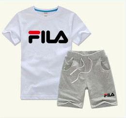 Discount infant boys short suits - Hot 2-7 Age New Style Children's Clothing For Boys And Girls Sports Suit Baby Infant Short Sleeve Clothes Kids Set