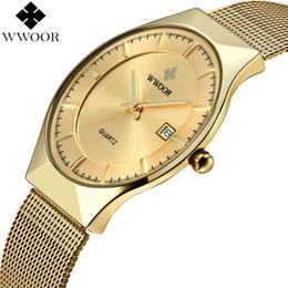 $enCountryForm.capitalKeyWord NZ - Cheap Quartz Watches WWOOR Men Ultra Thin Quartz Watch Gold Slim Steel Mesh Men Watches Top Brand Luxury Waterproof Male Wrist Watch