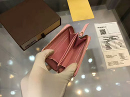 bag purse zipper Australia - For Pink Women Men Card Holder Short Zipper Purses High quality Famous Brand Genuine Leather zippy wallets With Box dust bags C10#7