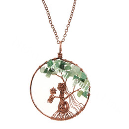 Wire Crystal Tree Australia - 10Pcs Copper Wire Baby and Mother Necklace Family Pendant Personalised With Natural Quartz Crystal Jasper Chip Bead Tree of Life Necklace