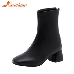 Discount elegant high heel fur boots - KARIN New Elegant Square Toe Booties Ladies Plus Size 28-52 Winter Fur Ankle Boots Women 2019 High Heels Shoes Woman
