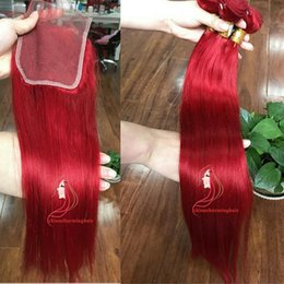 $enCountryForm.capitalKeyWord Australia - red Virgin Hair With Closure Human Hair silky straight 3pcs red Hair Bundles With Lace Closure