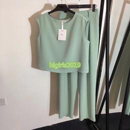 $enCountryForm.capitalKeyWord NZ - high end women girls pants set crew neck vest t-shirt sleeveless top tee sweatshirt shirt jogging wide leg pant fashion design luxury suit