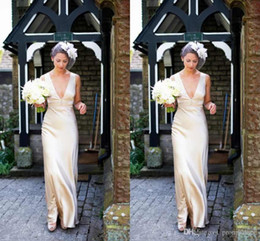 modern champagne wedding dresses NZ - Simple Design Wedding Dresses Champagne Satin Deep V-Neck Sleeveless With Zipper Back Bridal Dresses Fashion Wedding Gowns