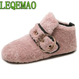 $enCountryForm.capitalKeyWord Canada - Metal Decoration circle Winter Sneakers For Women Flock flat Shoes Women Buckle warm fur Plush Winter Shoes