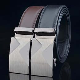 men belts wholesale Canada - Popular men's second-layer cowhide business men's strap belt Korean leather automatic buckle belts for men