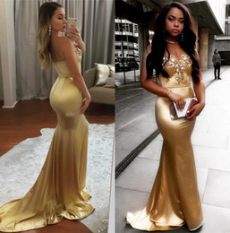 Golden Mermaid Gown Australia - 2018 Strapless Golden Satin Mermaid Long Prom Dressess Black Girls Lace Applique Beaded Evening Dresses Party Celebrity Gowns