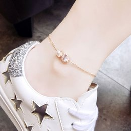 women lace anklets foot chain Canada - New small fish anklet female Korean version of the sexy fashion rose gold personality simple minority women's foot chain wholesale