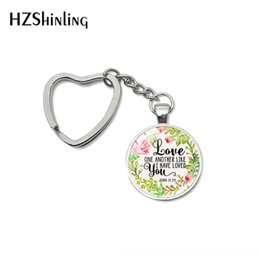 $enCountryForm.capitalKeyWord NZ - Fashion Bless Love One Another Like I Have Loved You Words Heart Keychain Inspirational Quotes Jewelry Car Key Chains Keyring