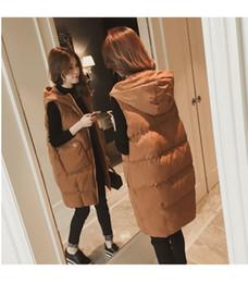 Womens Long Hooded Parka Australia - Parka Vest Jacket Women Winter Spring Sleeveless Long Design Womens Hooded Vests Simple Pockets Zipper Casual Vests Woman Coats