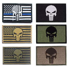 Wholesale military punisher patches for sale - Group buy Punisher patches Military Badge USA Flag patch Tactical patch Emboridered for bag and clothing stripes with Hook Loop