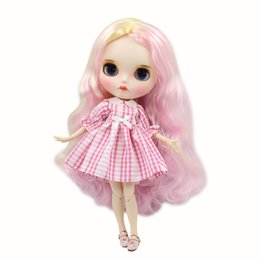 Painting Faces Australia - Blyth Doll 1 6 Joint Body hand painted mette face white skin Cute pink mixed color curls Manual eye parts DIY BJD SD toy gift
