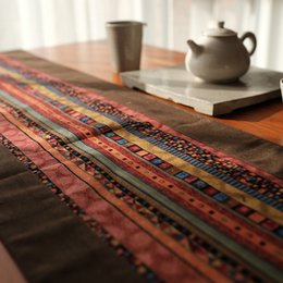 Table Cloth Chinese Australia - Chinese Classical style Cotton and Hemp printing Table runner Splicing cloth Ethnic style Inn Bed Towel table Tea Towel