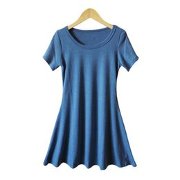 $enCountryForm.capitalKeyWord NZ - Women Summer Dress New Korean Girl Mini Dress Short Sleeve Candy Color One-piece Slim Basic Mini Cusual for Daily Wearing