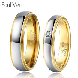 $enCountryForm.capitalKeyWord Australia - 1 Pair Silver & Gold Color Tungsten Couple Wedding Engagement Rings Set 6mm For Him 4mm For Her With Cz Stone Anel Masculino T190703