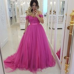 hot pink off shoulder dress NZ - Hot Pink Off the Shoulder Prom Dresses 2019 Bead Lace Tulle Evening Gowns Cocktail Party Ball Dress Cheap Formal Gowns