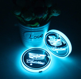 $enCountryForm.capitalKeyWord Australia - 2pcs LED Car Cup Holder Lights for Cadillac, 7 Colors Changing USB Charging Mat Luminescent Cup Pad, LED Interior Atmosphere Lamp
