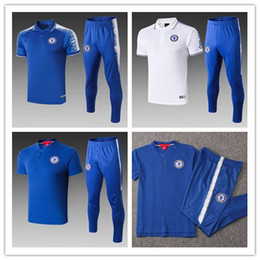 Polo Sportswear Australia - 2018 2019 HAZARD Short sleeve POLO shirt long pants soccer training suit PEDRO WILLIAN KANTE Football jersey soccer tracksuit sportswear