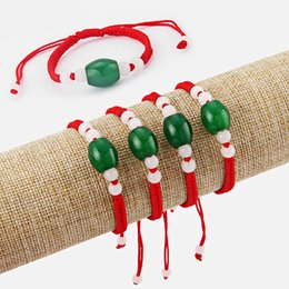 green stone bracelet china Canada - 10pcs Chiese Oriental Green Stone Beads Red BraidedThread Lucky Bracelet