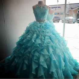9879f35e20 Turquoise Two Pieces Quinceanera Dresses 2019 Modest Beads Crystals  Masquerade Ball Gown Prom Dress Sweet 16 Girls Vestidos De 15 Anos