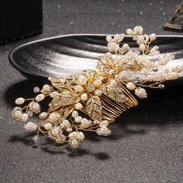 $enCountryForm.capitalKeyWord Australia - Gold Wedding Hair Accessories Handmade Soft Bride Hair Combs Tiaras Rhinestone Bridal Hair Sticks Evening Head Wear