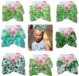 Large Girls Hair Clips Australia - HOT 8 inch St. Patrick's Day Jojo Bows for Girls Jojo Siwa Large Hair Bows for Girl Kid with Clips Bowknot Handmade Hair Accessories 8pcs