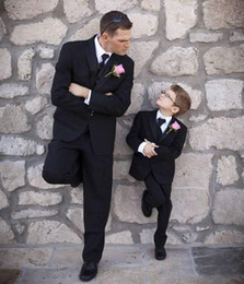 groomsmen tuxedos navy color UK - Custom Made Black Wedding Tuxedos For Boy Slim Fit Little Boy Suit Three Pieces Groomsmen Suit (Jacket+Pants+Vest)