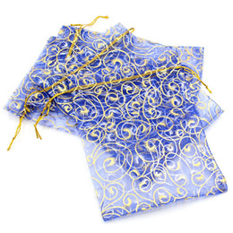 Royal blue gift bags online shopping - DoreenBeads Organza Drawable Wedding Gift Bags amp Pouches Royal Blue W gold color Flower x13 cm B24396