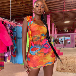 Clothes for sexy night online shopping - Tie Dye Print One Shoulder Bodycon Short Dress Party Night Sexy Club Dresess for Women Clothing Fashionable
