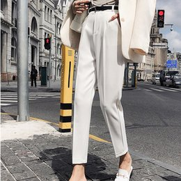 White Flannel Trousers Australia - Bgteever Ol Style White Women Pants Sashes Pencil Pant High Waist Elegant Work Trousers Female Casual Pantalon Femme 2018 C19040401