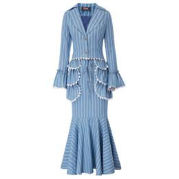 Cotton Set Aprons Australia - Fashion Women fall 3pcs Set Suit Retro Edwardian Stripe Pattern short suit Coat+trumpet mermaid Skirt+Apron Vintage royal style