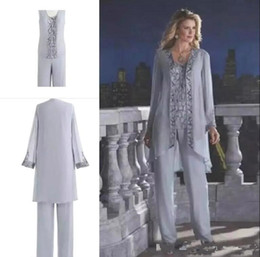 panting pictures Australia - 2019 Mother Of The Bride Three-Piece Pant Suit Lace Chiffon Beach Wedding Mother's Groom Dress Long Sleeve Wedding Guest Dress BA6571