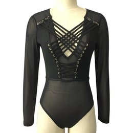 29e628b2225d Women Body Donna Lace Up Bodies Ladies Combinaison Sexy Mesh Thong Bodysuit  Long Sleeve Plus Size Negro Boddy Mujer Romper Black C19011001
