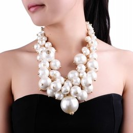 white gold coins NZ - Fashion Gold Chain White Pearl Beads Cluster Choker Bib Pendant Necklace Perfect Party Valentine's Wedding Gift Big Necklace CJ191221