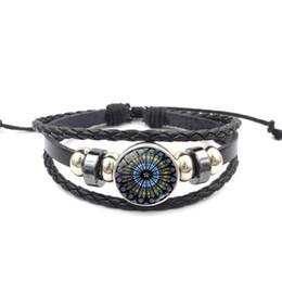 $enCountryForm.capitalKeyWord Australia - Black leather rope bracelet Notre Dame Rose window flower time gemstone bracelet retro multi-layer PU woven bracelet cross-border jewelry