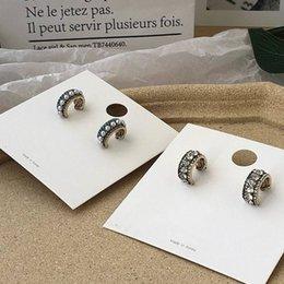 $enCountryForm.capitalKeyWord Australia - 2019 New Vintage Rhinestone Semicircle Hoop Earrings For Women Fashion Temperament Simulated Pearl Boucle D'oreille