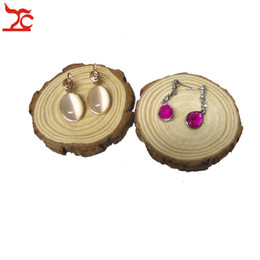 $enCountryForm.capitalKeyWord UK - Unfinished DIY Art Craft Natural Ring Earring Jewelry Display Holder Organizer Creative Round Wood Slices Circles With Tree Bark Block Stand